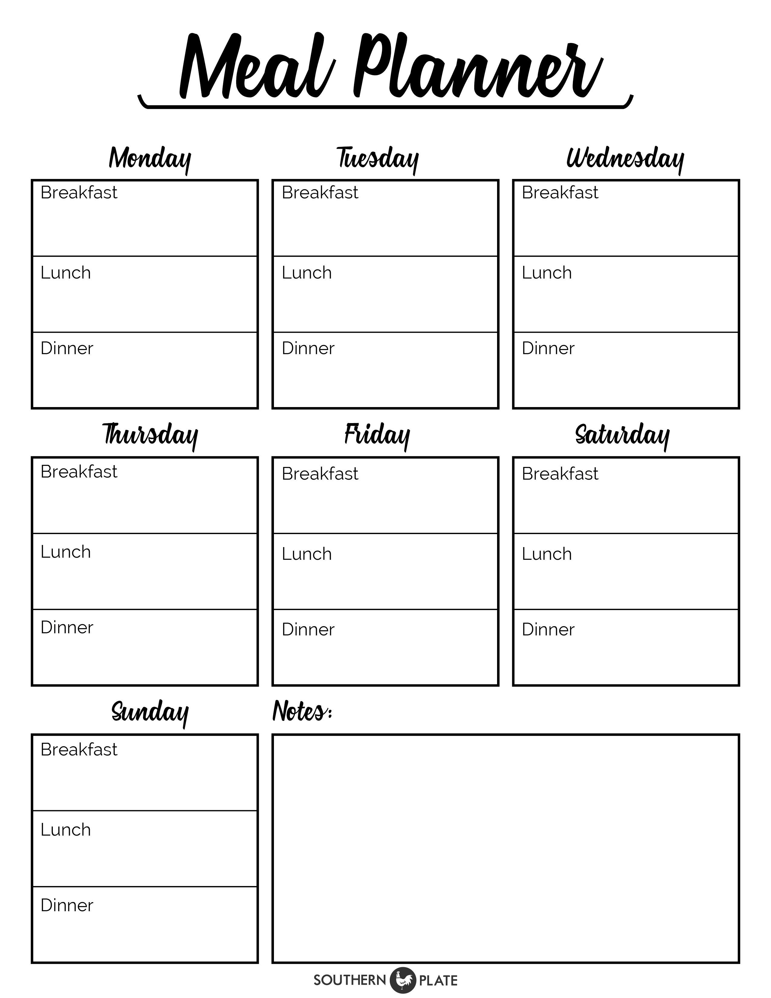 I'm happy to offer you this free printable Meal Planner