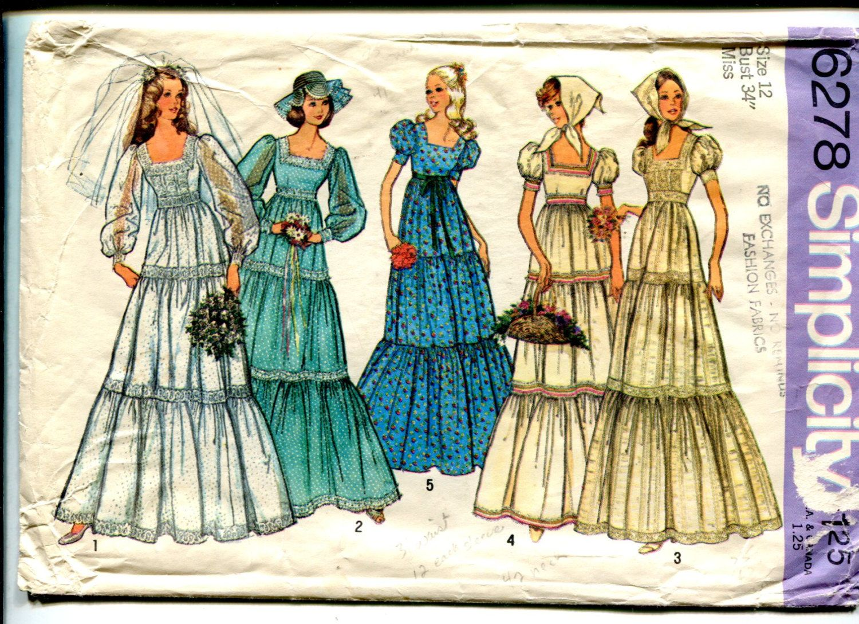 1970s provincial wedding dress pattern square neck empire