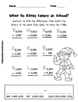 This Is A Practice Worksheet For Subtracting 4 Digit Numbers It Includes Subtracting Across Zeros Math Addition Worksheets Math Riddles Teaching Subtraction