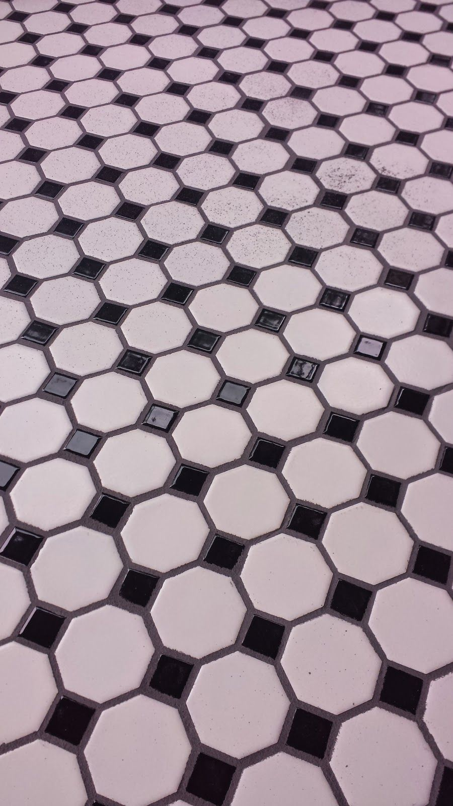 Black And White Octagon Dot Tile With Pewter Grout A Little Bit Left Of