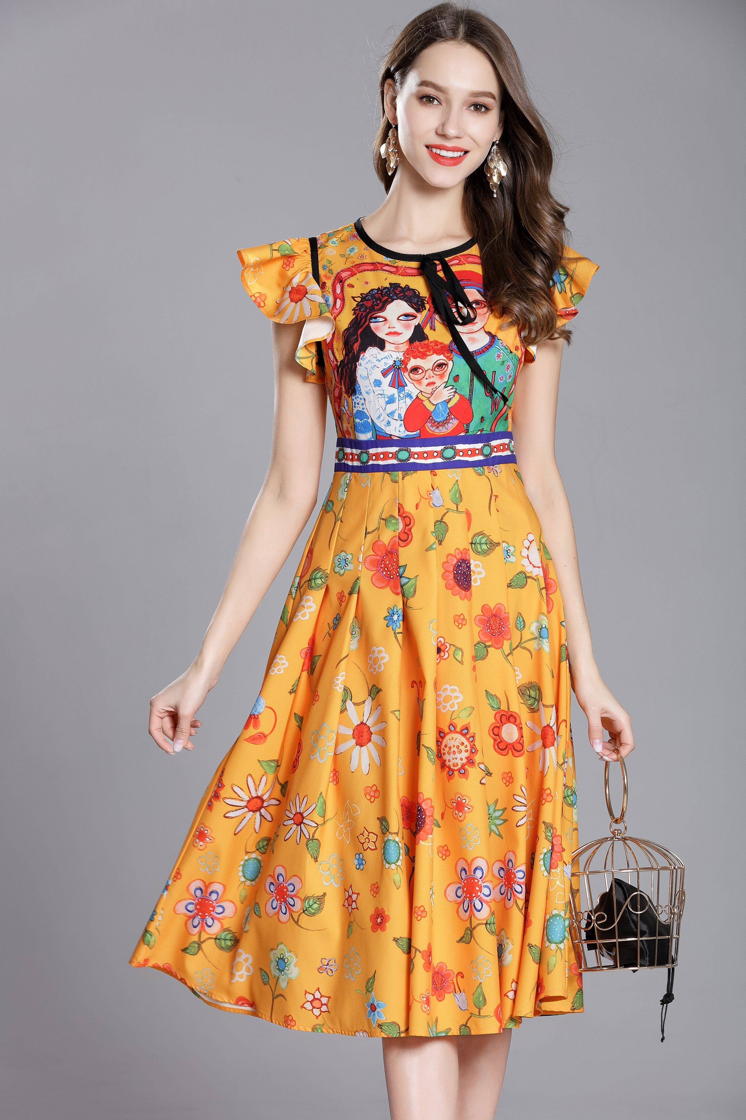 Day jewel neckline circular cap sleeve aline skirt floral below