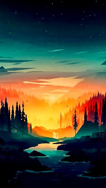 Sunrise Forest River Scenery Digital Art 8k Click Imag In 2020 Sunrise Scenery Digital Art