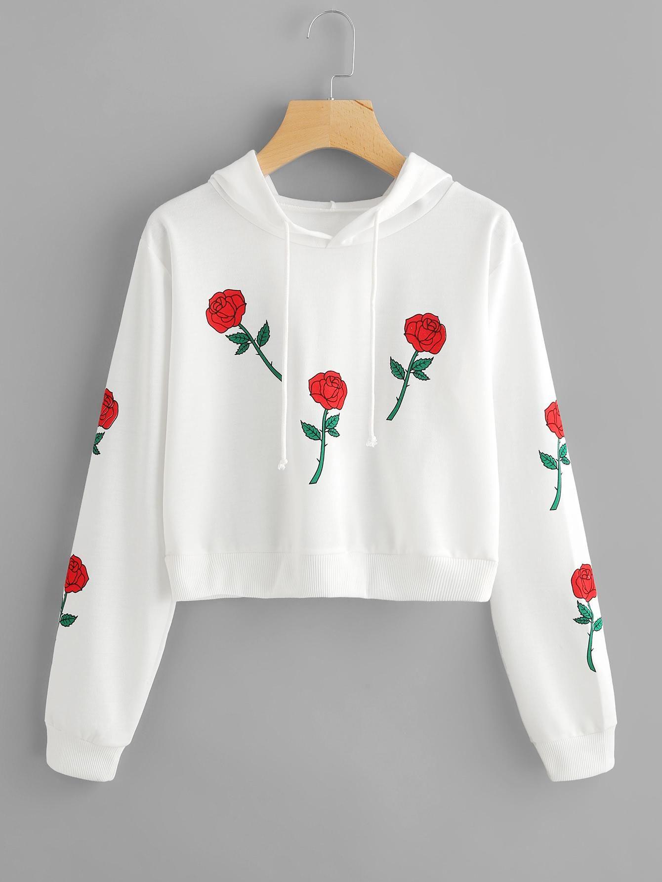 ROMWE - ROMWE Rose Print Hoodie - AdoreWe.com | Hoodie ...