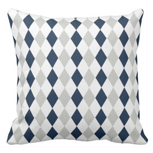 Cool Navy Blue and Grey Argyle Diamond Pattern Pillows