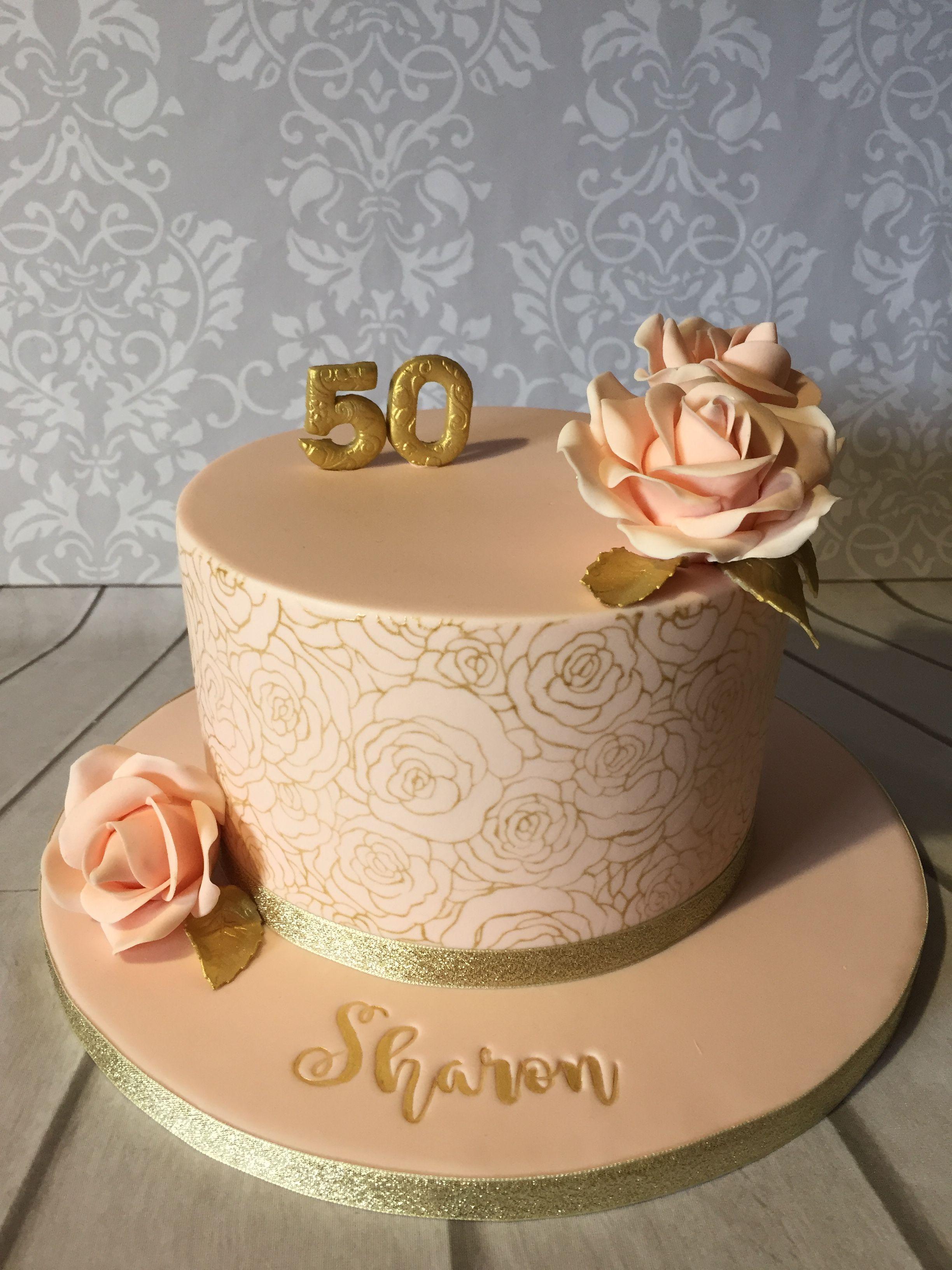 Enjoyable Rose Stencil 50Th Birthday Cake Cake Stencil 50Th Birthday Cake Personalised Birthday Cards Vishlily Jamesorg