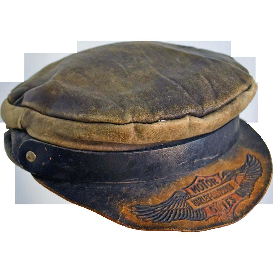 Vintage HARLEY DAVIDSON Leather HAT Sz lg xlg by ...  |Vintage Harley Davidson Hats