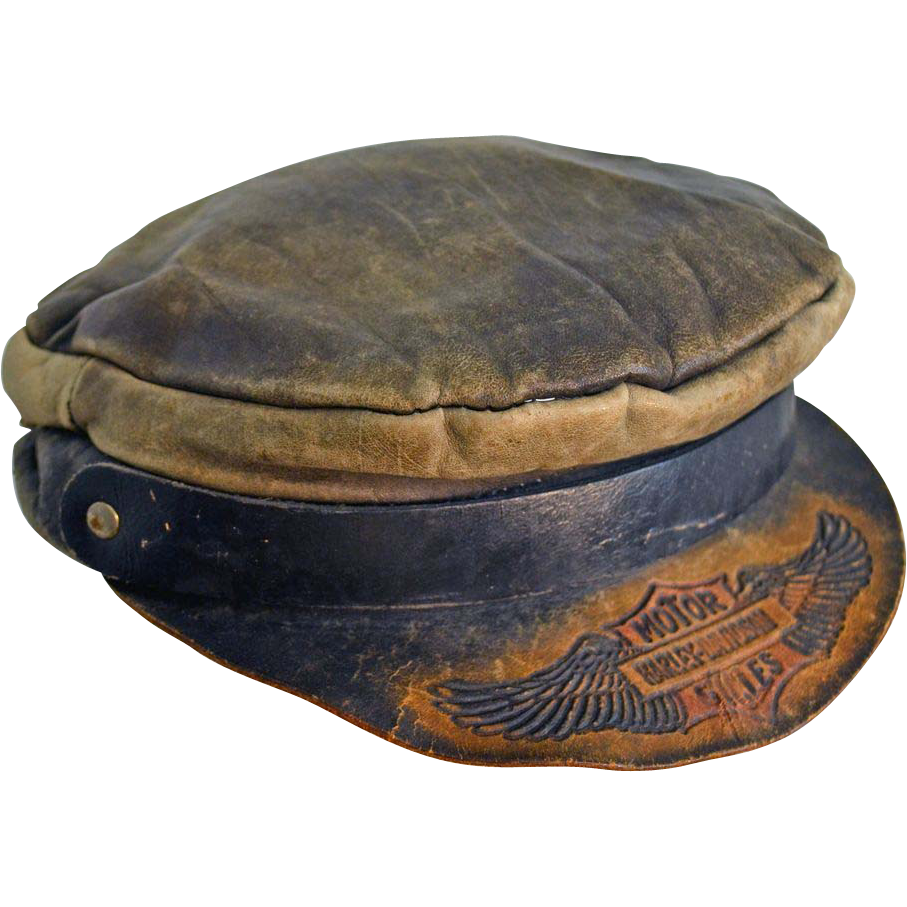 89da3408e57 Vintage Harley Davidson Motorcycle Embossed Leather Cap Hat Circa 1910