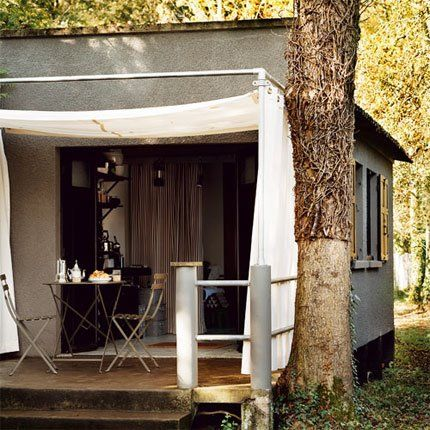 back porch with canopy