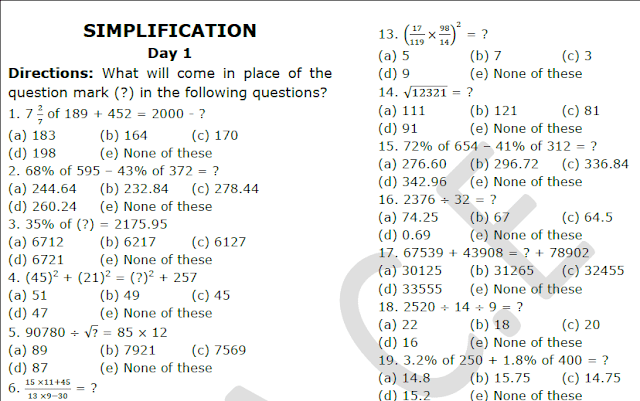 1000 Maths Simplification Question And Answers Pdf Download This