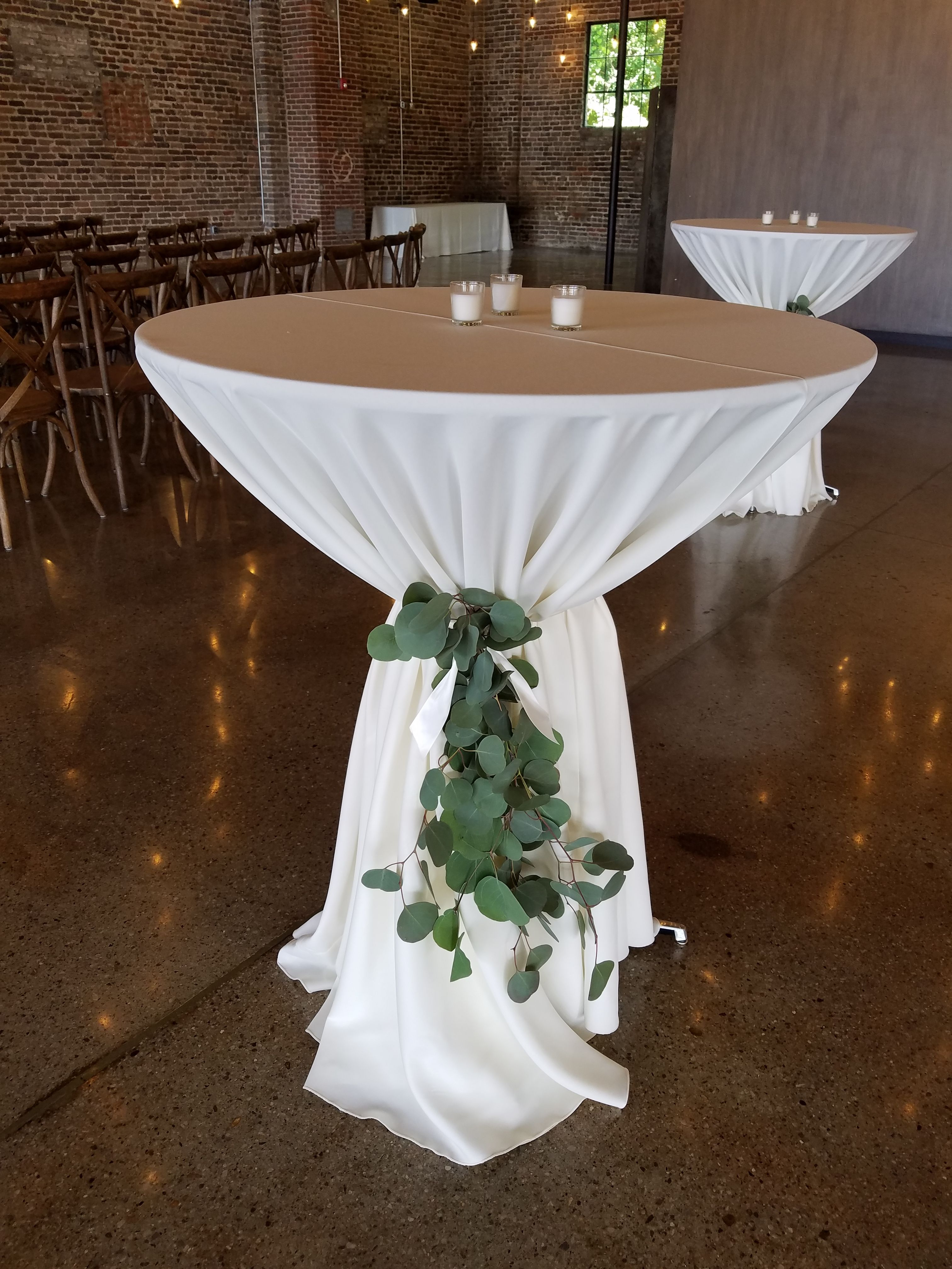 Wedding Cocktail Tables Wedding Reception Tables Greenery Tied Around Cockt Wedding Table Decorations Diy Wedding Cocktail Tables Cocktail Table Centerpieces