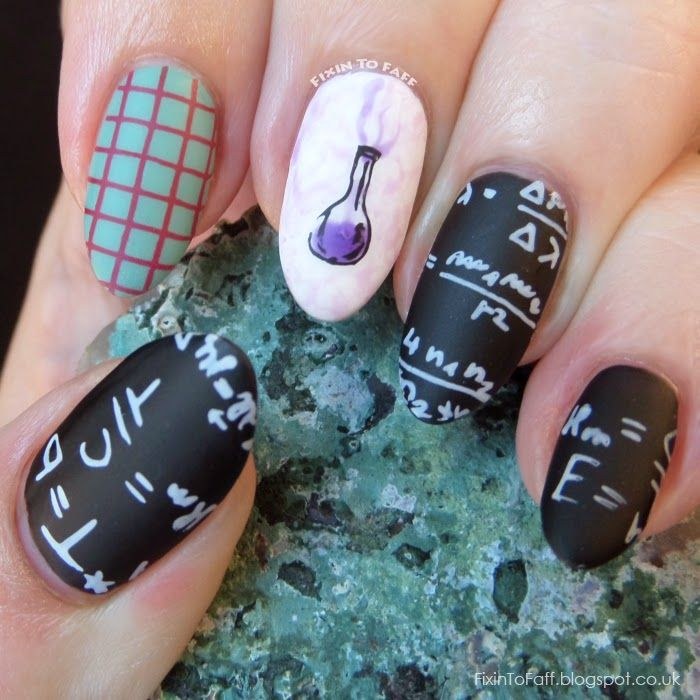 Science and Technology inspired nailart featuring blackboard ...