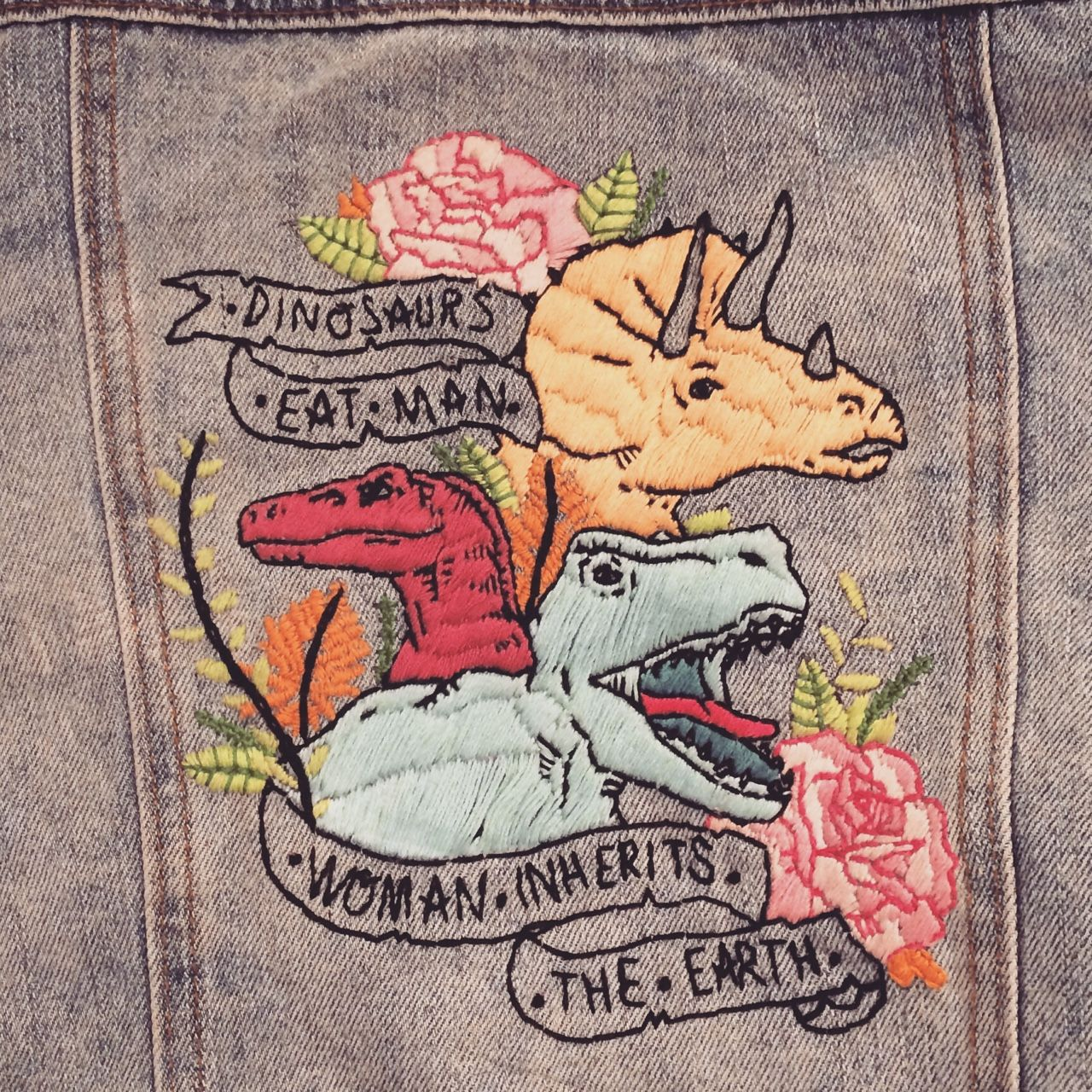"iron-wang: ""ITS DONE! …technically I still have to fill in the triceratops horns but CLOSE ENOUGH! 45 hours of sewing, Special thanks to tinysketchbook who drew the beautiful original illustration~ "" #dinosaurillustration"