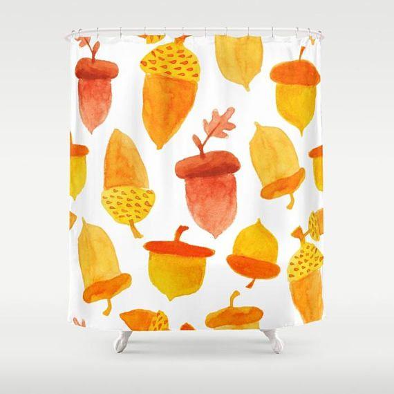 Acorn Shower Curtain, Fall Acorns, Autumn Shower Curtain, Fall Shower  Curtain, Watercolor