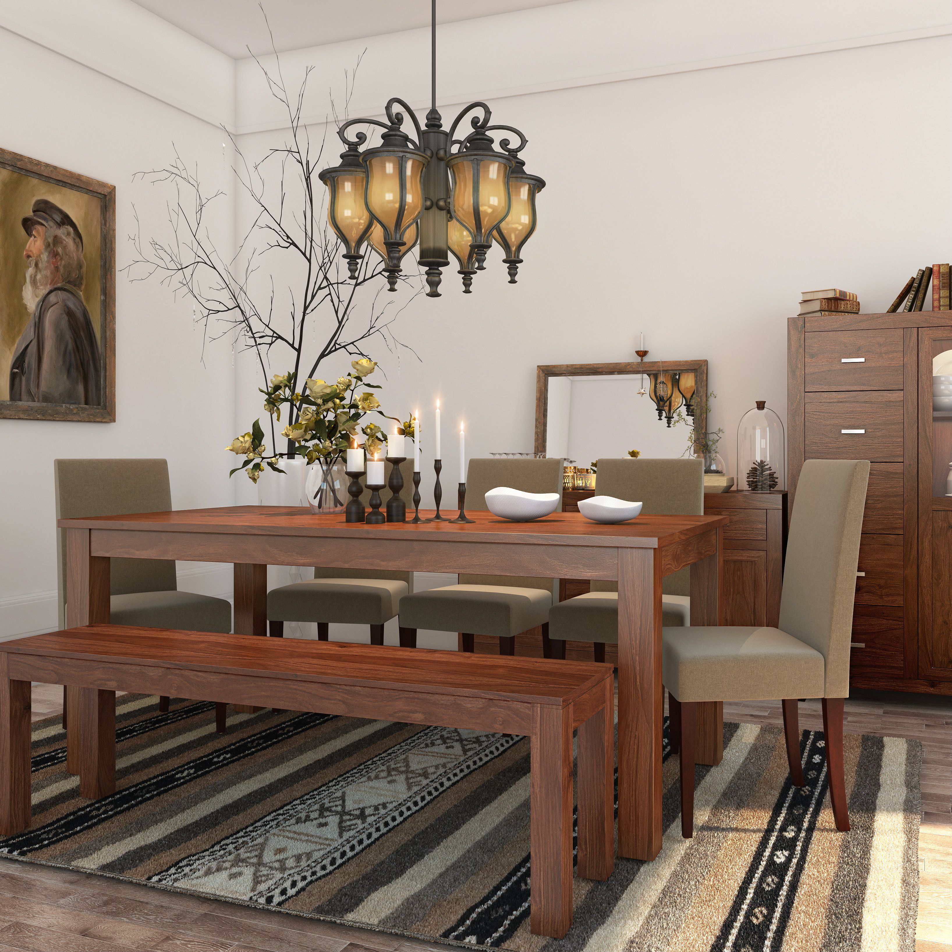 Dining room table with upholstered bench  Edgy chandelier  wooden accents ud winner dining room  Dining Rooms