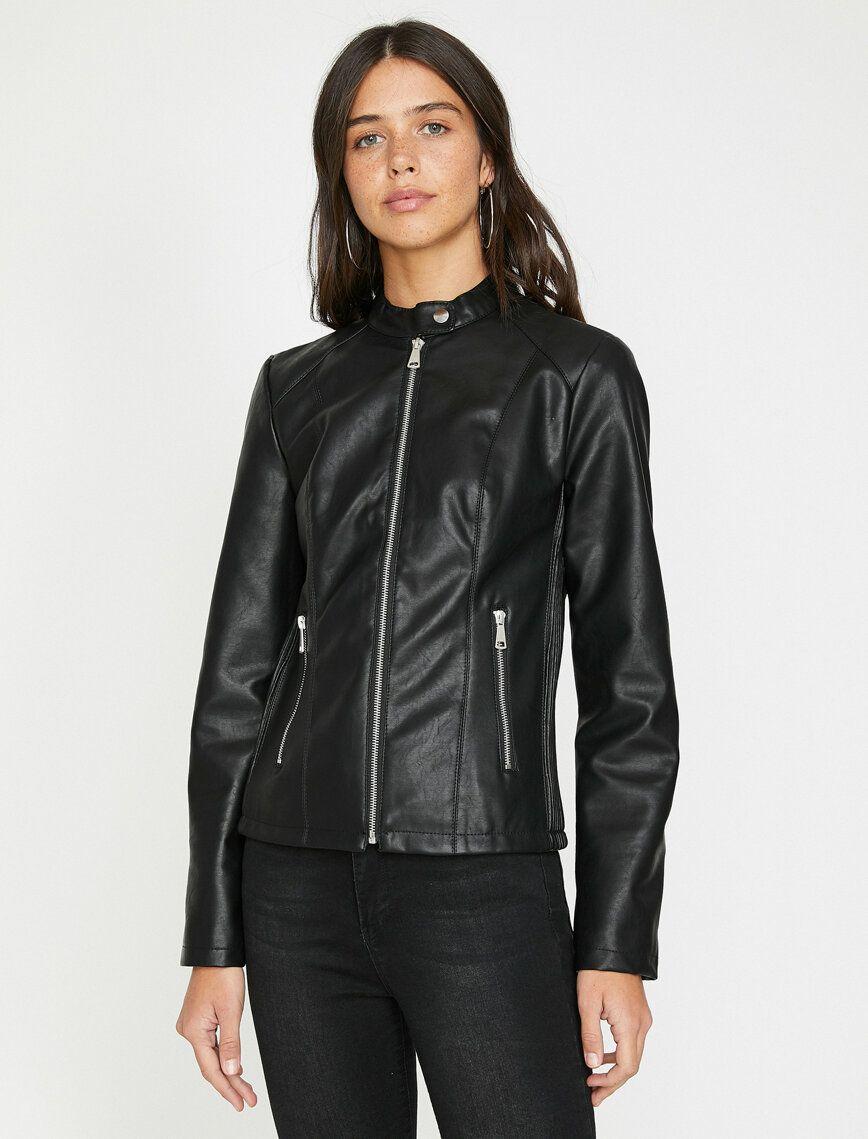 Leather Look Coat Outerwear Women Coats For Women Mandarin Collar