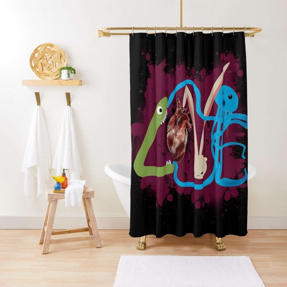 Tough Love Monsters Fight For A Heart Shower Curtain By