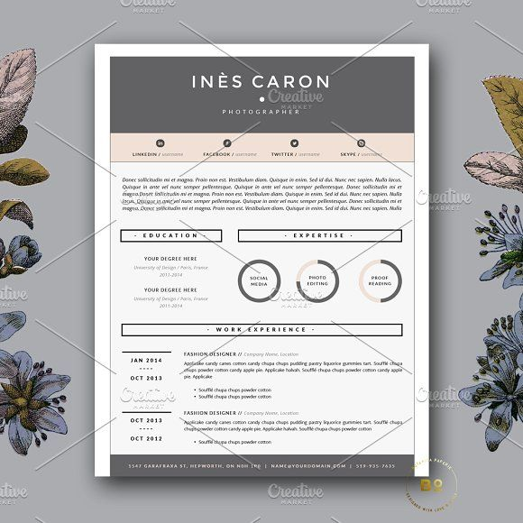 4 Page Resume Template for Word by Botanica Paperie on - word templates for resumes