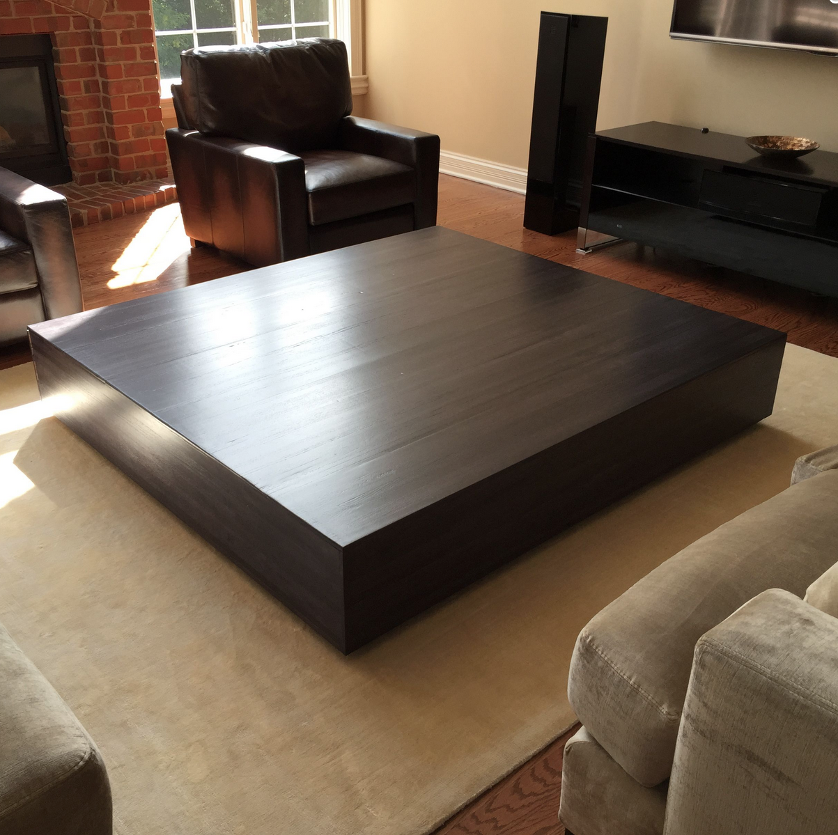 - Custom Made Ultra Modern Large Coffee Table With Pull Out Drawer