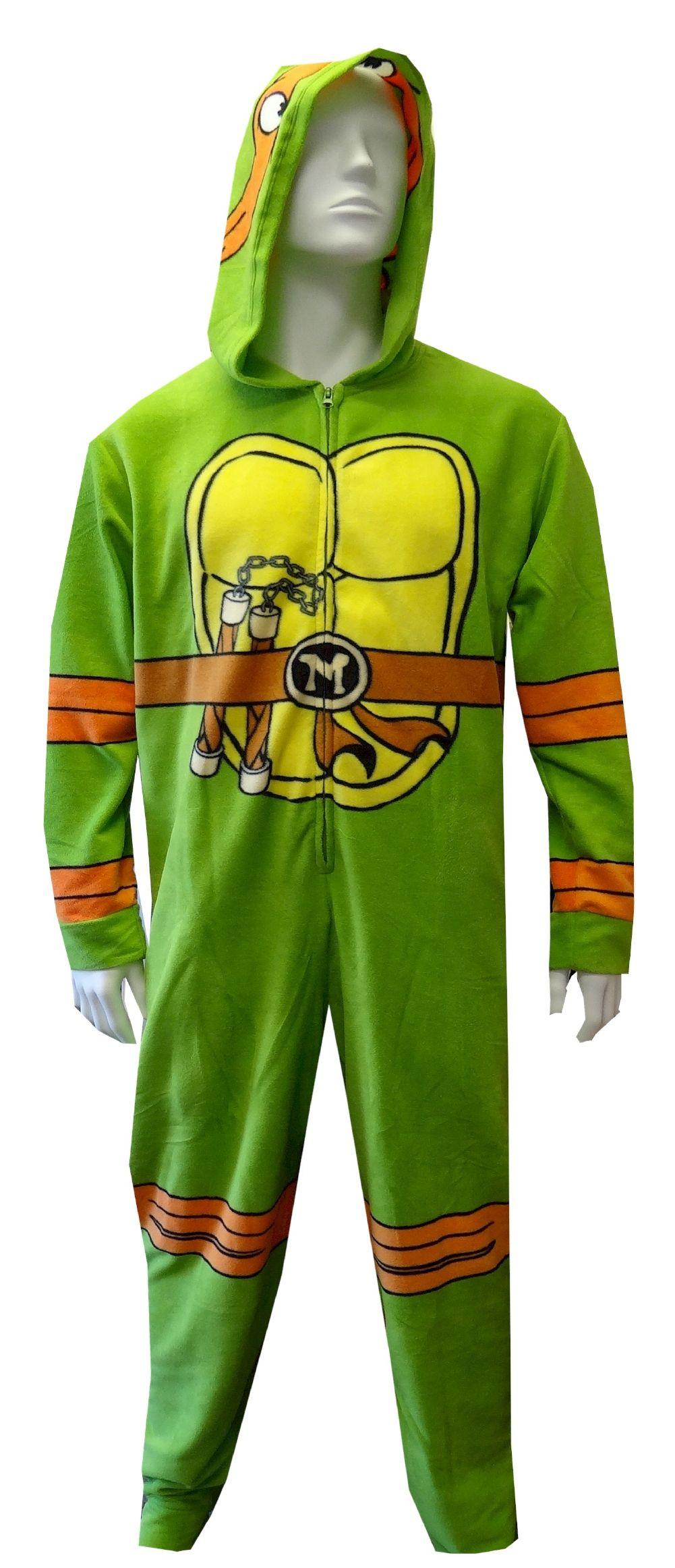 81358bcc5 Teenage Mutant Ninja Turtle Hooded Fleece Onesie Pajama Conquer the ...