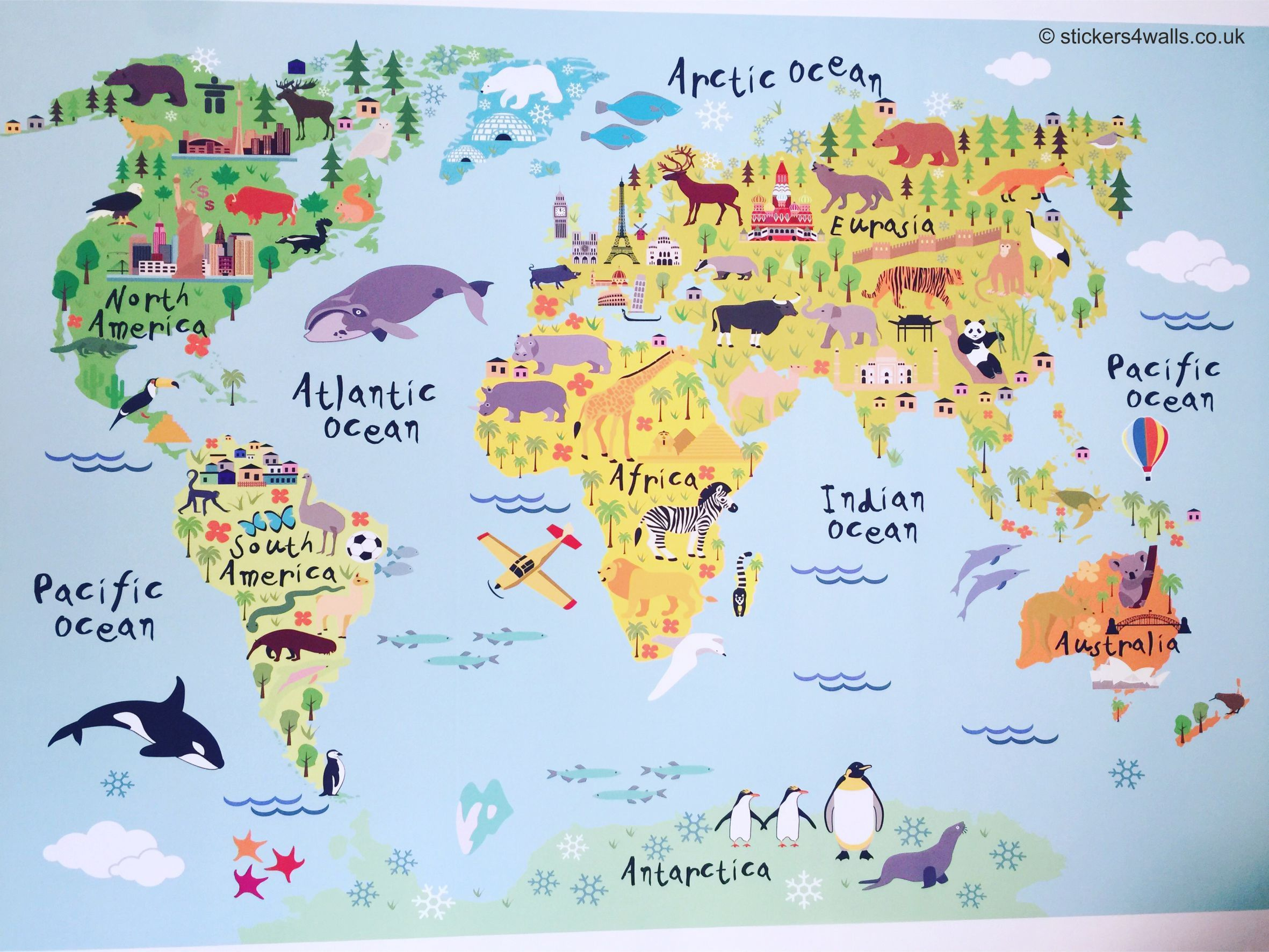 World Map Wall Sticker for Kids, Map of the World Wall Graphic, Kids ...