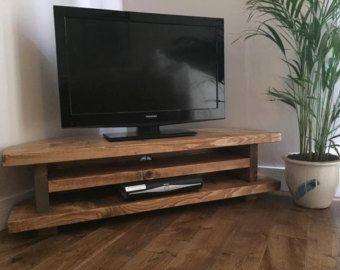 Rustic Tv Corner Unit Heavy Solid Wood