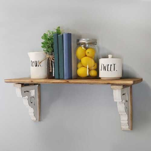 Photo of Distressed Two-Tone Natural Wood Shelf