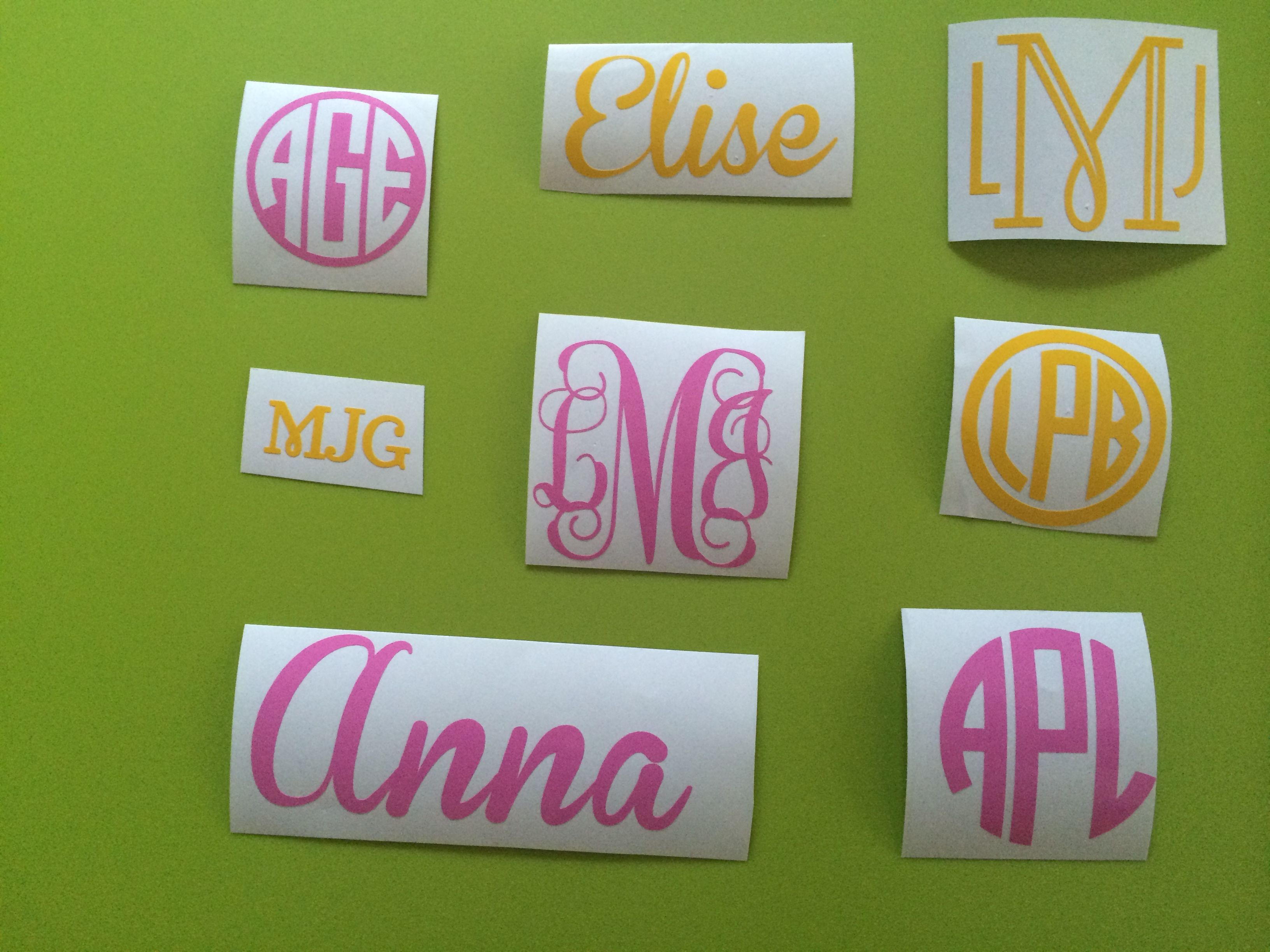 """Monograms and names from 1/2"""" (perfect for car door near"""