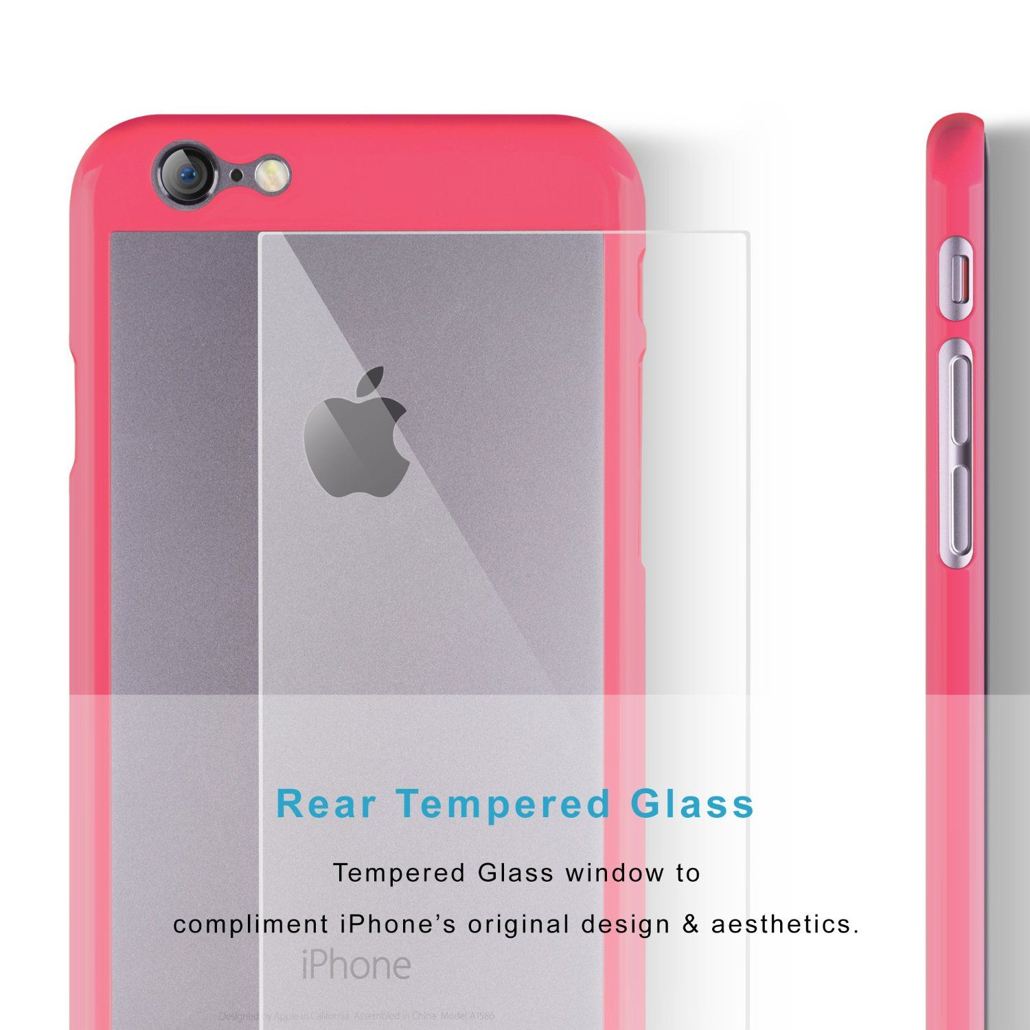 iPhone 6 Case | iCASEIT COMBi Glass Case - BABY BLUE | Slim case with Strengthened Glass back | Only 0.8mm in Thickness | [Non-Slip] [Exact-Fit] Premium Finish | Does NOT fit iPhone 6s - BABY BLUE