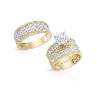 14k Twotone Gold 1ct TDW Diamond Matching His and Hers Wedding Ring
