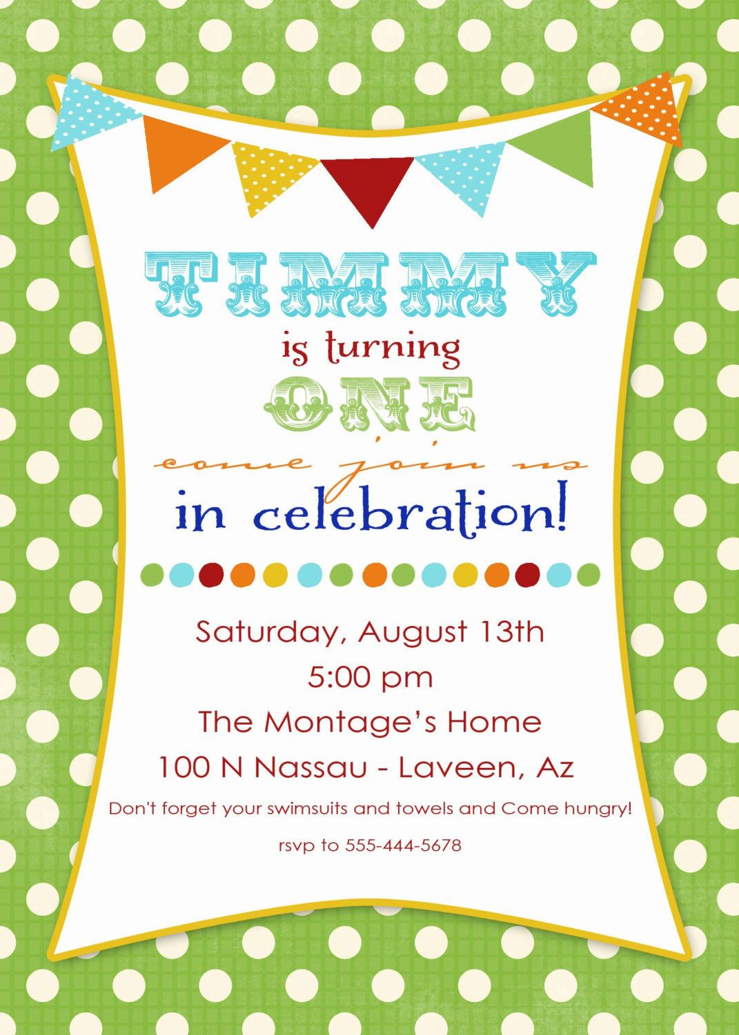 1st birthday party invitations with banner and fun fonts, digital ...
