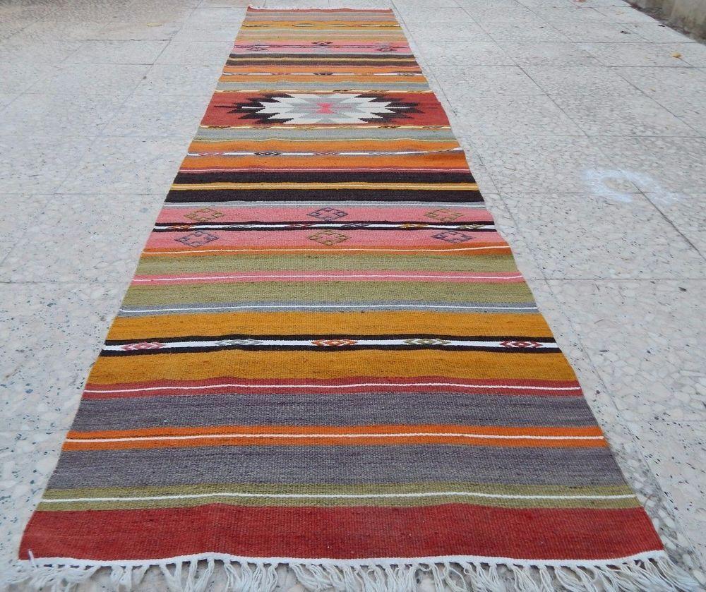 vintage handwoven colorful narrow floor kilim runner tribal hallway rug