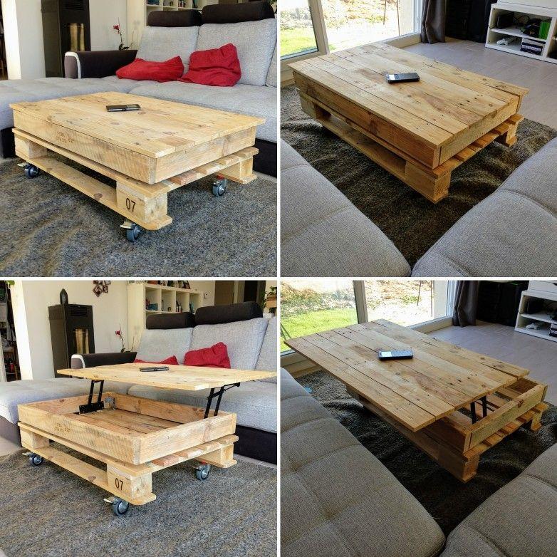 Table Basse Diy Palette 100 60 Avec Plateau Relevable Table Basse Avec Plateau Relevable Table Basse Palette Deco Palette Bois