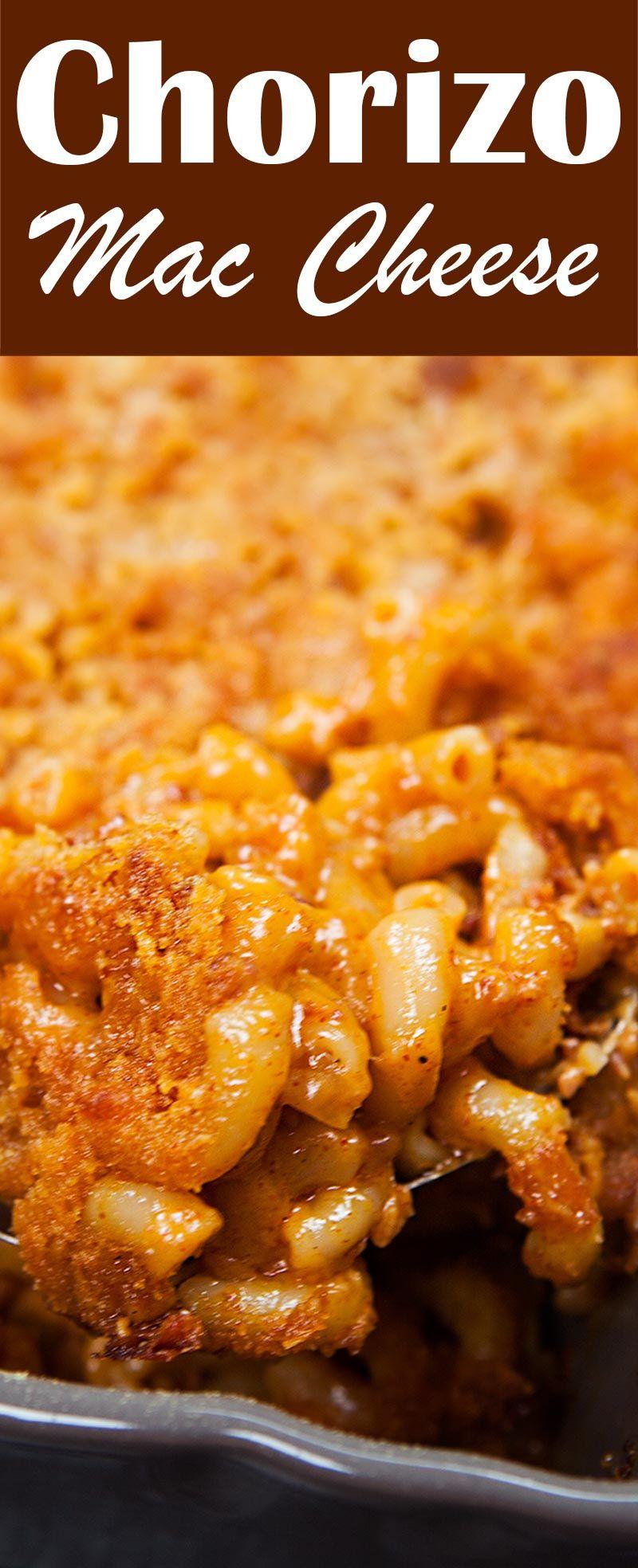 Chorizo Mac & Cheese! Baked mac cheese with cheddar cheese, pepper jack, and Mexican chorizo. Cheesy and spicy! #comfortfood #chorizo #maccheese