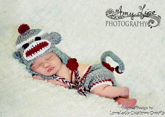 Sock Monkey Hat And Diaper Cover Set In Gray With Red Trim