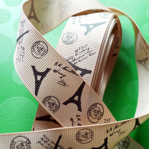 Eiffel Tower Light Brown Grosgrain Ribbon 23cm x 3 by LavishLace