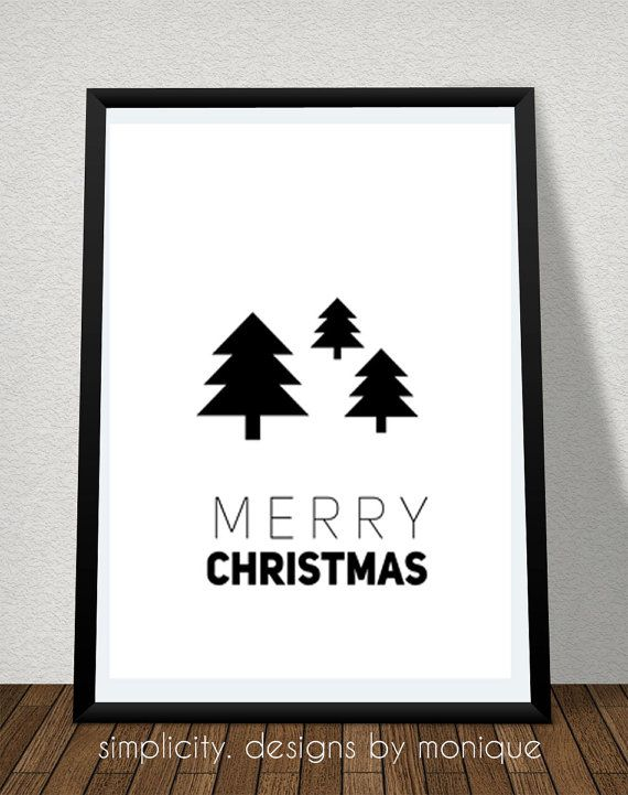 Black and White Merry Christmas Pine Trees by SimplicitybyMonique