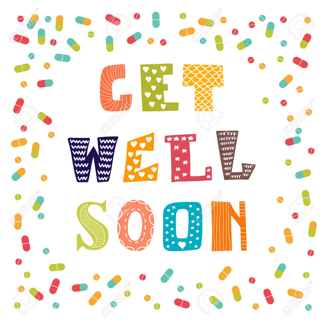 43502209 Get Well Soon Card With Pills Greeting Card Vector