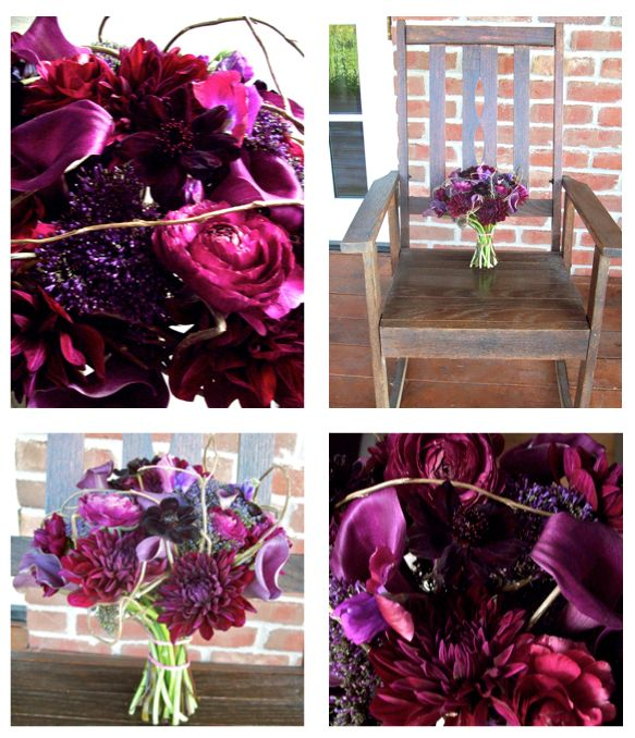 callas, trachelium, chocolate cosmos, sweetpea, dahlias- summery flowers but colour combo is fab!