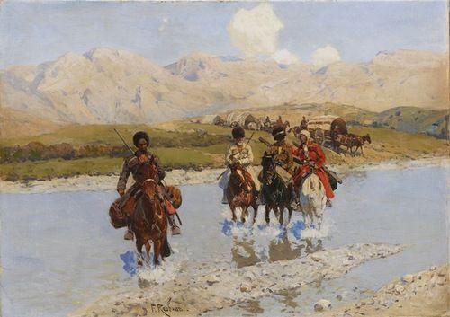 Конники народов Кавказа - участники Kавказской войны в картинах Франца Рубо.
