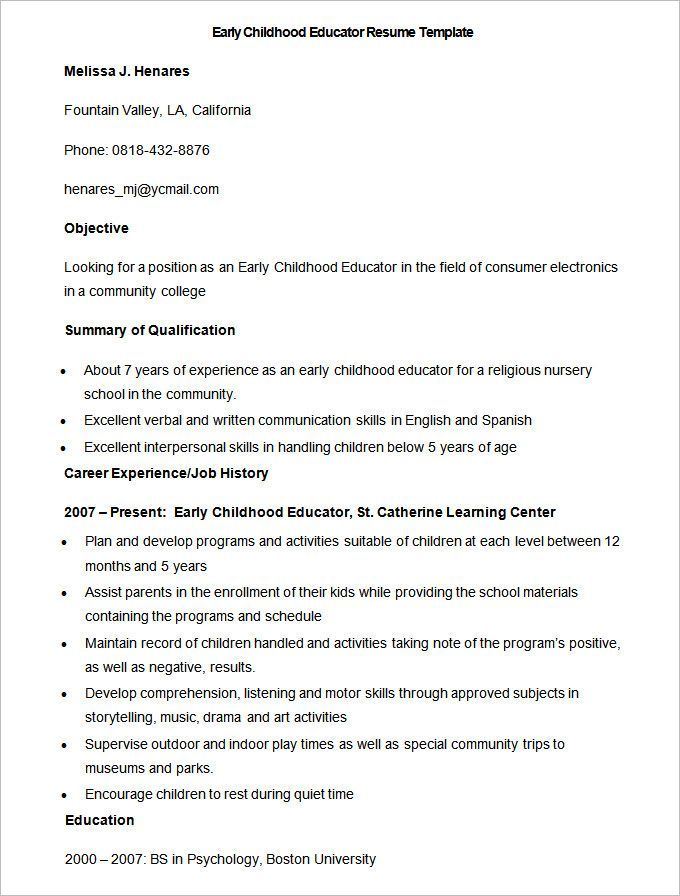 Early Childhood Education Resume Sample Early Childhood Educator Resume Template  How To Make A Good