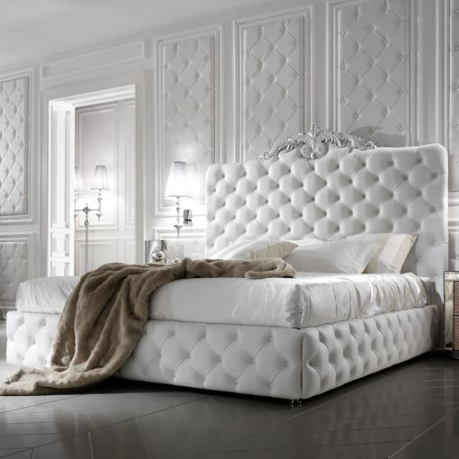 Italian Designer Art Deco Inspired Upholstered Bed with Tall ...