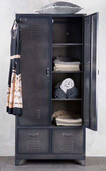 Metal Locker Style Wardrobe in Black by BePureHome