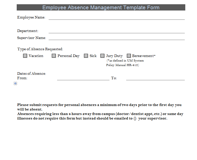Employee Absence Management Template Form | ExcelTemple | Excel ...