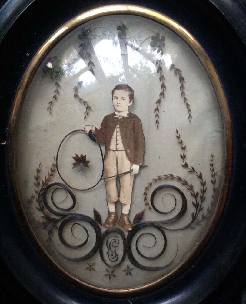 WOW! ANTIQUE VICTORIAN HAIR ART PICTURE BOY HOOP TOY PHOTO