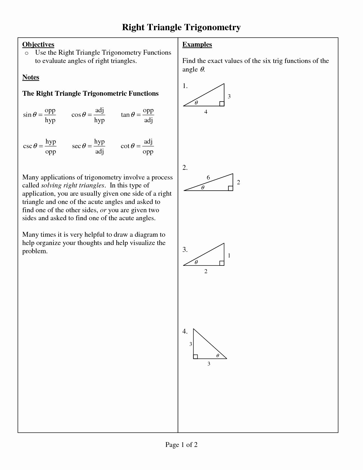 Right Triangle Trigonometry Worksheet Inspirational 11