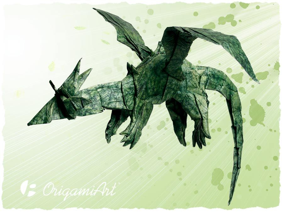Origami diagram of the green dragon
