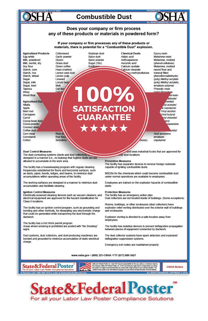 OSHA Combustible Dust Factsheet! Informs employees of key