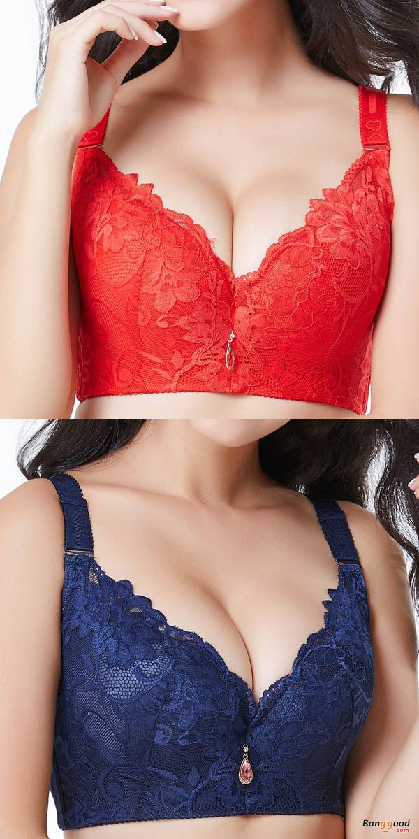 00fe5b11beed70 Plus Size Lace-trim Plunge Adjustable Underwire Breathable Gather Thin  Bras. Women Bra