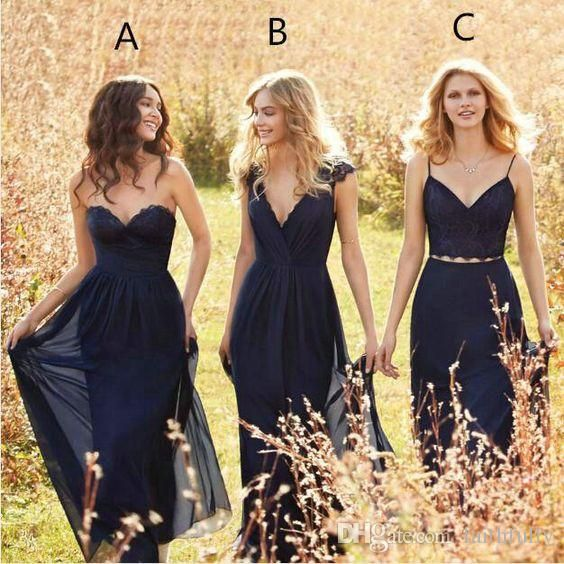 2017 Mismatched Navy Blue Bridesmaid Dresses Floor Length Chifon Vintage Gowns Fall Countryside Plus Size Maid Of Honor Hot