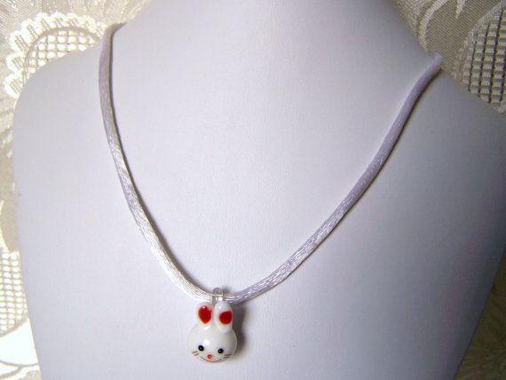 Child's Cute Little Lampwork Bunny Head by lindasoriginaljewels, $6.00